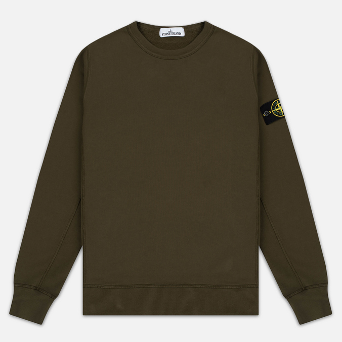 Stone Island Garment Dyed Crew Neck Men's Sweatshirt Khaki
