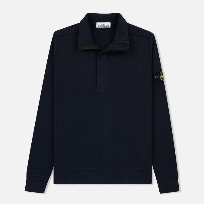 Мужская толстовка Stone Island Garment Dyed Half Zip Navy Blue