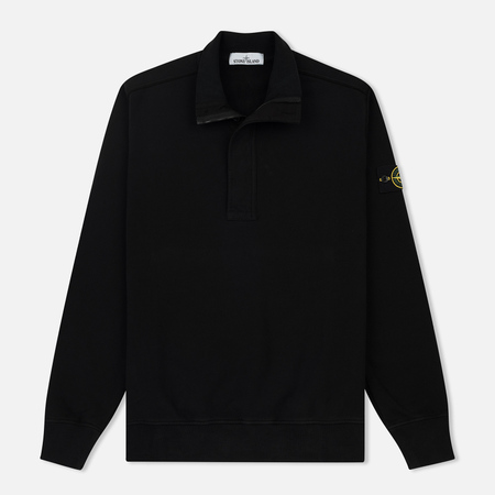Мужская толстовка Stone Island Half Zip Brushed Cotton Fleece Black
