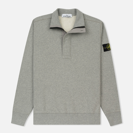 Мужская толстовка Stone Island Half Zip Brushed Cotton Fleece Dust Grey