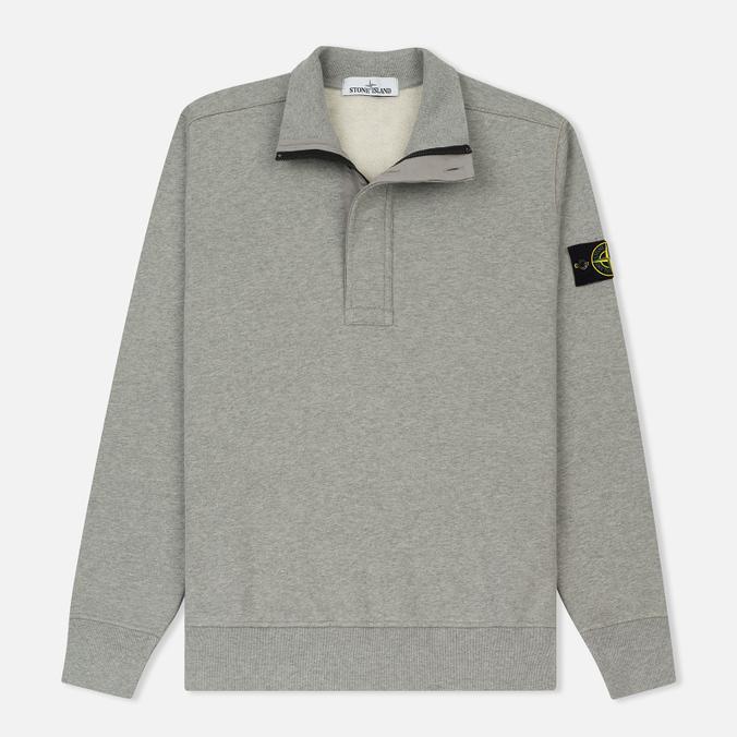 Мужская толстовка Stone Island Half Zip Brushed Cotton Fleece Dust Grey