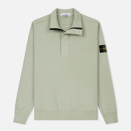 Мужская толстовка Stone Island Half Zip Brushed Cotton Fleece Mastic White
