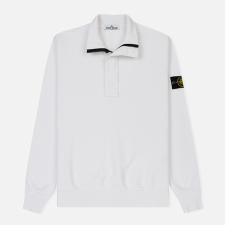 Мужская толстовка Stone Island Half Zip Brushed Cotton Fleece White