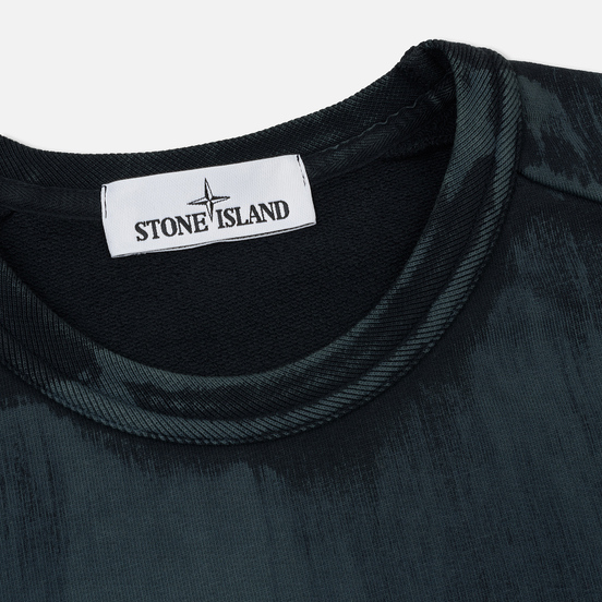 Мужская толстовка Stone Island Hand Brushed Colour Treatment Crew Neck Blue Grey
