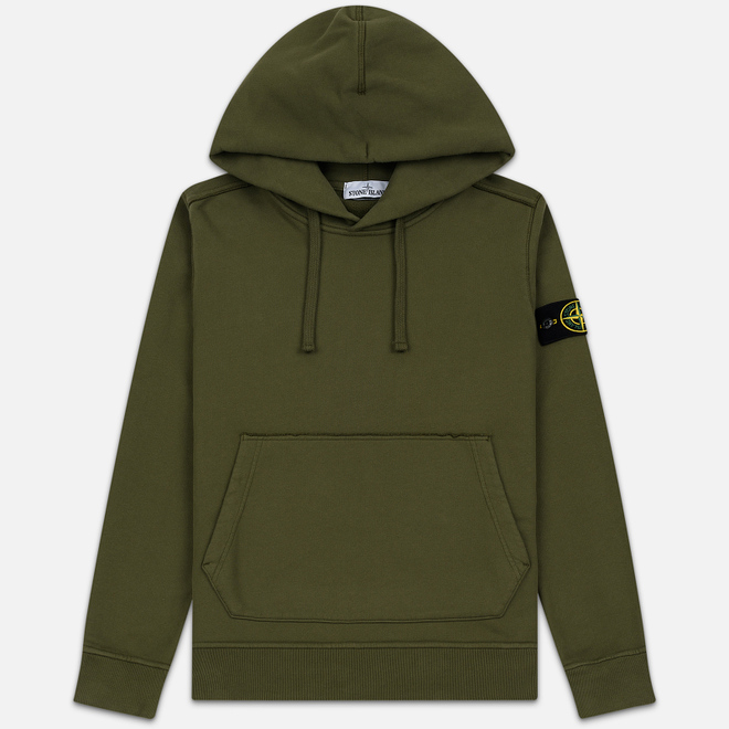 Мужская толстовка Stone Island Hooded Brushed Cotton Fleece Olive Green