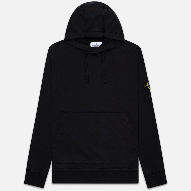 Мужская толстовка Stone Island Hooded Cotton Fleece Pouch Pocket Black