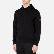 Мужская толстовка Stone Island Hooded Cotton Fleece Pouch Pocket Black фото- 4
