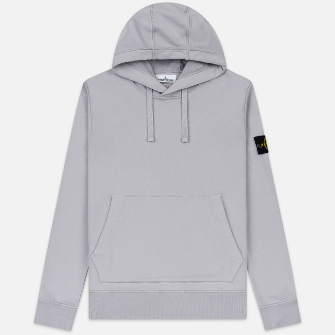 Мужская толстовка Stone Island Hooded Cotton Fleece Pouch Pocket Dust Grey