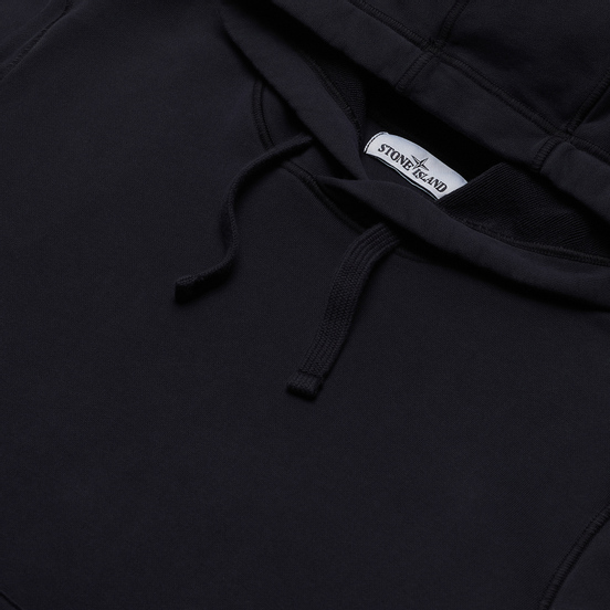 Мужская толстовка Stone Island Hooded Cotton Fleece Pouch Pocket Navy Blue