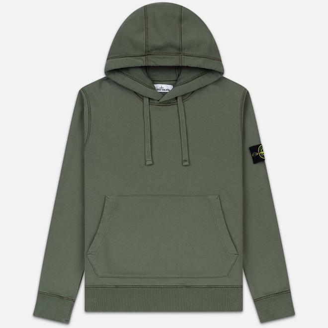 Мужская толстовка Stone Island Hooded Cotton Fleece Pouch Pocket Olive Green