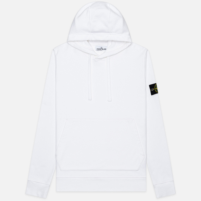 Мужская толстовка Stone Island Hooded Cotton Fleece Pouch Pocket White