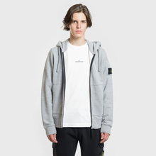 Мужская толстовка Stone Island Hooded Full Zip Dust Melange фото- 1