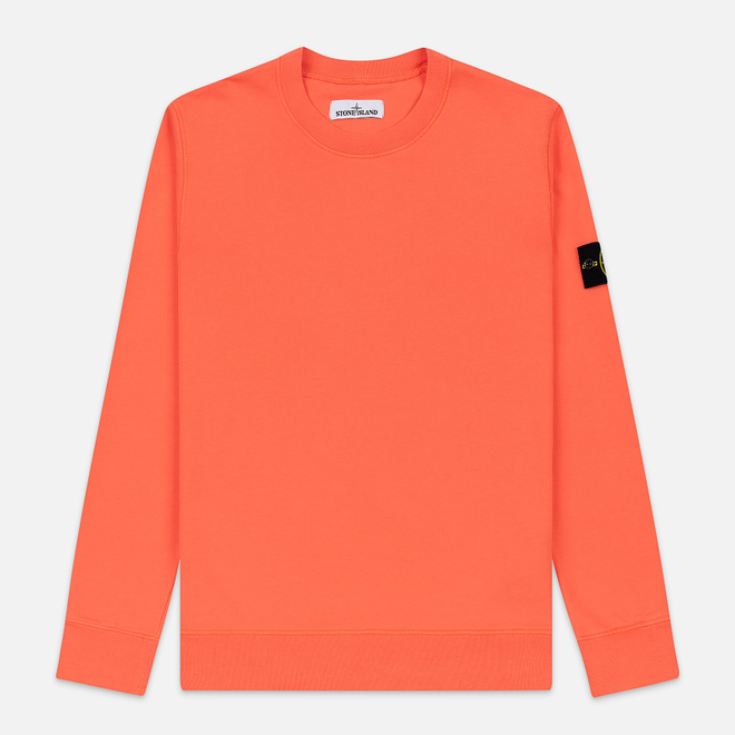 Мужская толстовка Stone Island Lightweight Loopback Cotton Crew Neck Bright Orange