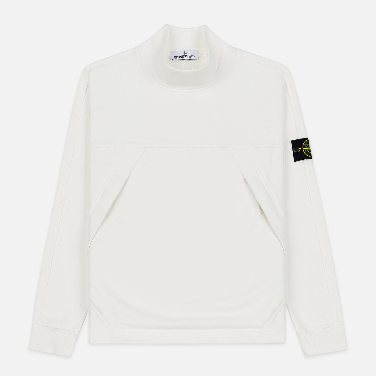 Мужская толстовка Stone Island Mock Neck Brushed Cotton Fleece Natural White