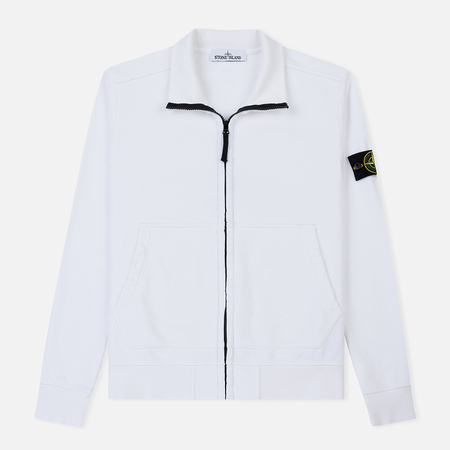 Мужская толстовка Stone Island Neck Standing Full Zip Garment Dyed White