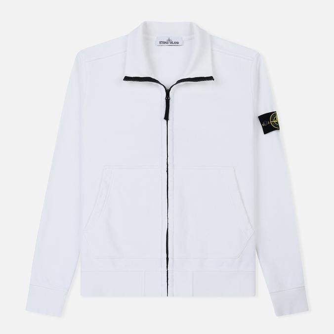 Мужская толстовка Stone Island Neck Standing Full Zip Garment Dyed White