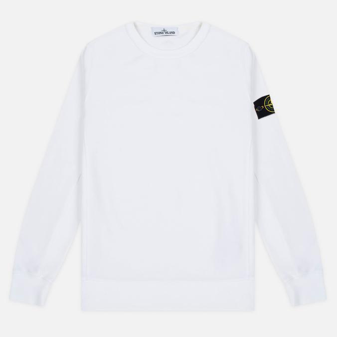 Stone Island Patch Crew Neck Men's Sweatshirt White
