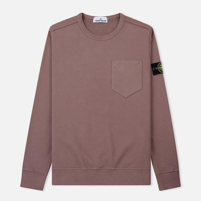 Мужская толстовка Stone Island Pocket Brushed Cotton Fleece Pink Quartz