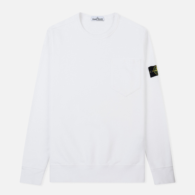Мужская толстовка Stone Island Pocket Brushed Cotton Fleece White