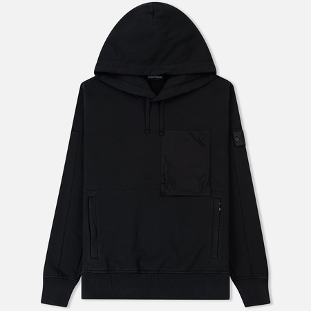 Мужская толстовка Stone Island Shadow Project Diagonal Weave Popover Hoody Black