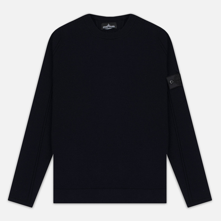 Stone Island Shadow Project Stretch Wool Intarsia Crew Neck Men's Sweatshirt Blue