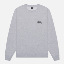 Мужская толстовка Stussy Basic Stussy Crew Screenprint Ash Heather/Black