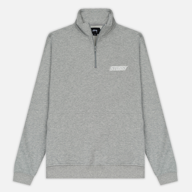 Мужская толстовка Stussy Nylon Panel Mock Grey Heather