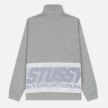Мужская толстовка Stussy Nylon Panel Mock Grey Heather фото- 5