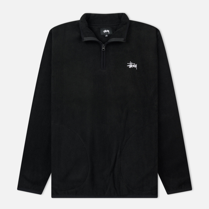 Мужская толстовка Stussy Polar Fleece Half Zip Black