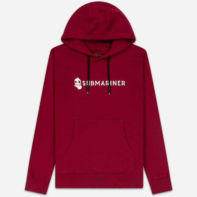 Мужская толстовка Submariner Basic Logo Print Hoodie Bordeaux