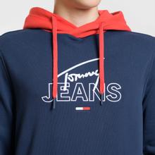 Мужская толстовка Tommy Jeans Color Block Graphic Hoodie Black Iris/Flame Scarlet фото- 2