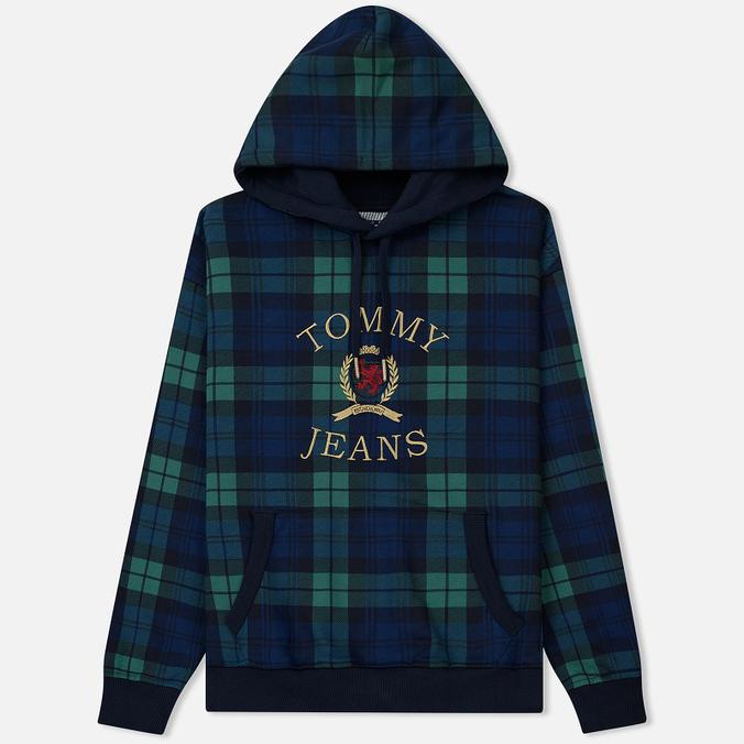 Мужская толстовка Tommy Jeans Crest Plaid Hoodie Check Dark Sapphire/Multi
