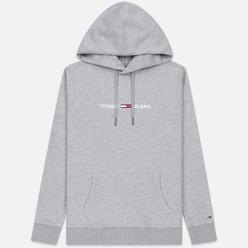 Мужская толстовка Tommy Jeans Straight Small Logo Hoodie Slim Fit Light Grey Heather