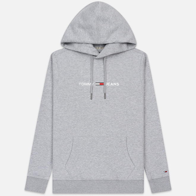 Мужская толстовка Tommy Jeans Straight Small Logo Hoodie Slim Fit Light Grey Heather
