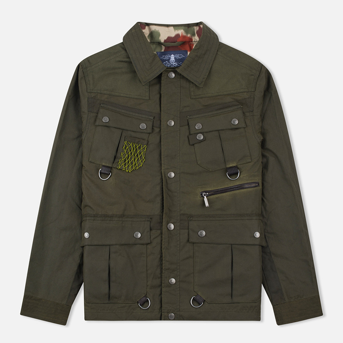 Мужская вощеная куртка Barbour x White Mountaineering Cusk Slim Wax Archive Olive