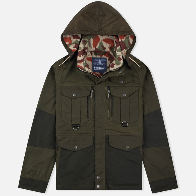 Мужская вощеная куртка Barbour x White Mountaineering Kitefin Slim Wax Archive Olive