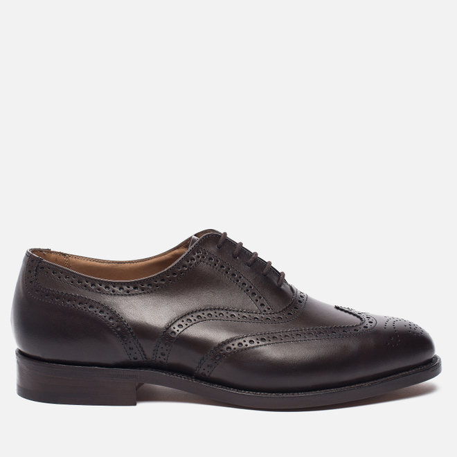 Мужские ботинки броги Tricker's Brogue Oxford Epsom Espresso Burnished