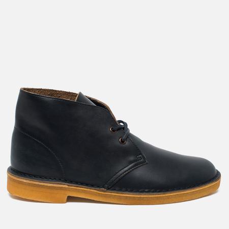 Clarks Originals Desert Boot Leather Petrol Men's Shoes Blue Lea