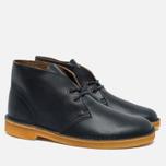 Clarks Originals Desert Boot Leather Petrol Men's Shoes Blue Lea photo- 2