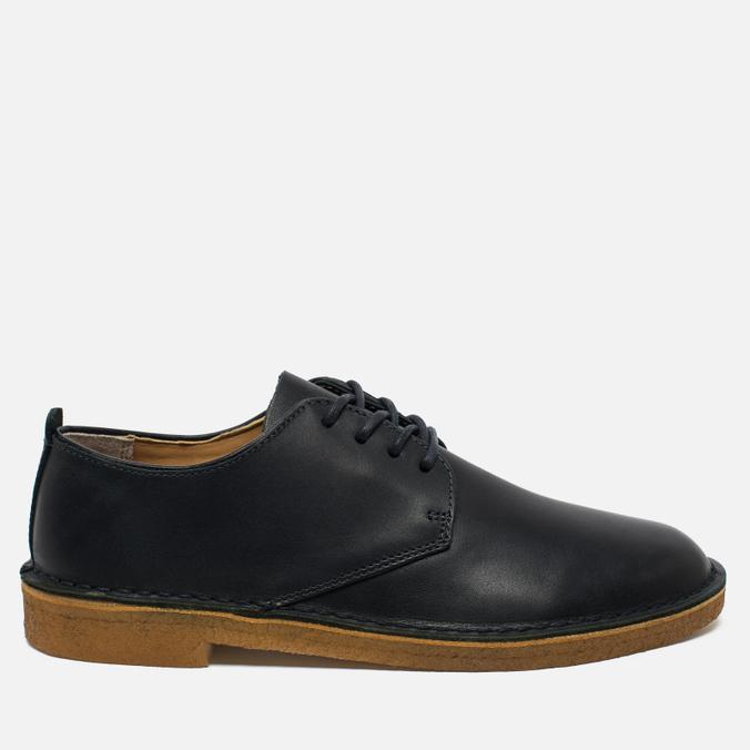 Clarks Originals Desert London Leather Men's Shoes Dark Navy