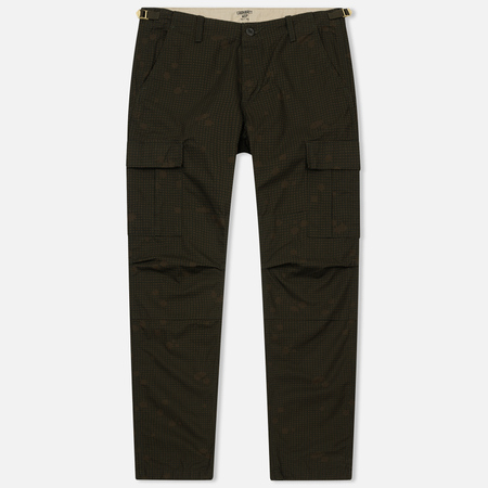 Мужские брюки Carhartt WIP Aviation Columbia Ripstop 6.5 Oz Camo Night Combat Green Rinsed