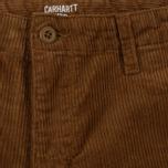 Мужские брюки Carhartt WIP Chino Club 9.7 Oz Hamilton Brown Rinsed фото- 1
