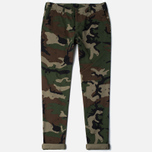 Мужские брюки Carhartt WIP Club Cotton Questa Twill 9 Oz Camo 313 Green Rinsed фото- 0