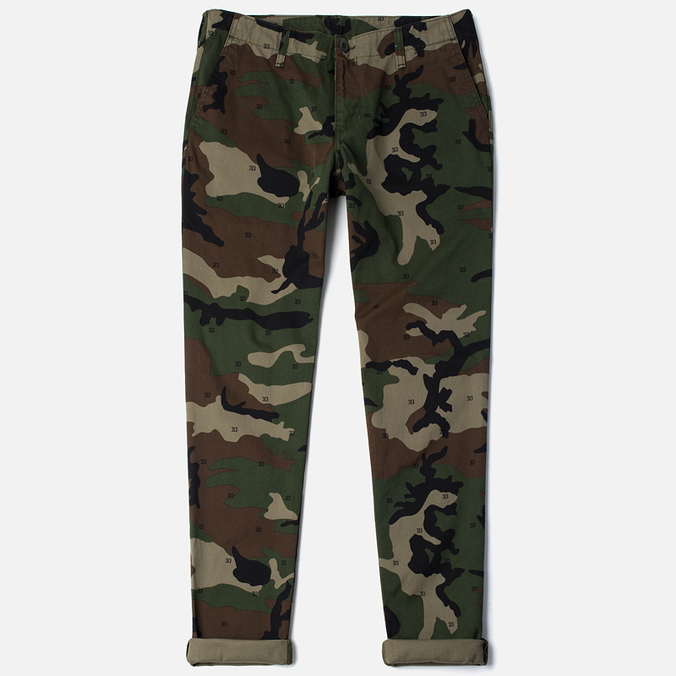 Мужские брюки Carhartt WIP Club Cotton Questa Twill 9 Oz Camo 313 Green Rinsed