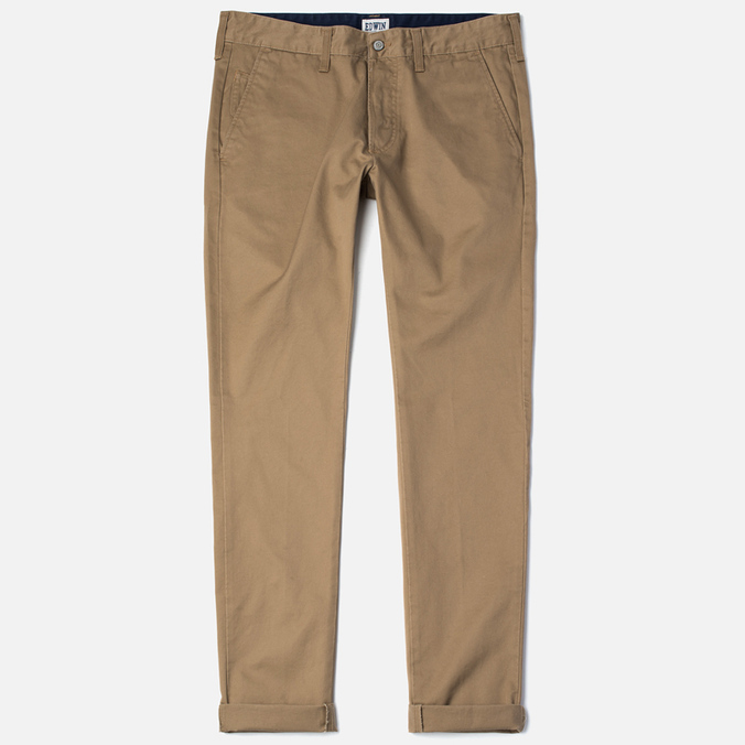 Edwin ED-55 Chino Compact Twill Stone Men`s Trousers Beige Rinsed