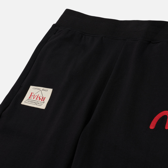 Мужские брюки Evisu Heritage Daruma Towel Embroidered Black