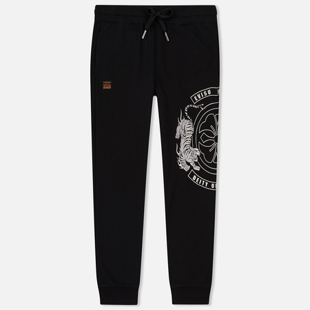 Мужские брюки Evisu Heritage Tiger Satin Patch On Embroidered Black