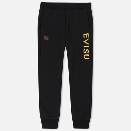 Мужские брюки Evisu Slim Fit Daruma Skull Embroidered Black