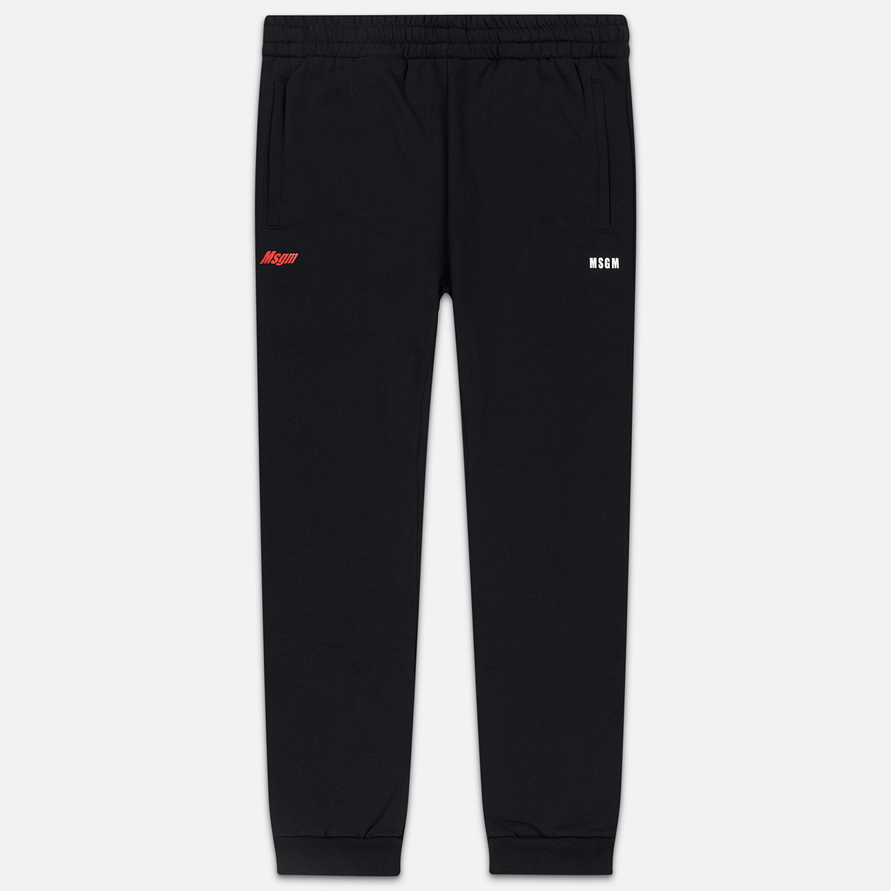Мужские брюки MSGM Red And White Logo Print Black