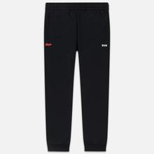 Мужские брюки MSGM Red And White Logo Print Black фото- 0
